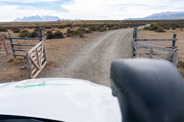 Gated Gravel Road on our way to Awasi Patagonia
